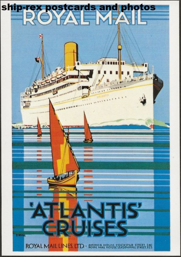 ATLANTIS (1929a, Royal Mail Lines) postcard (g1)